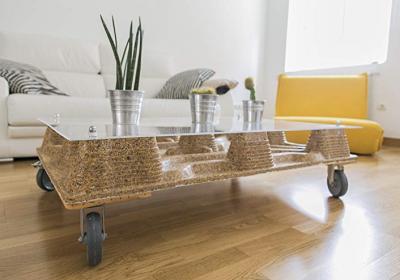 Mesa con palets y Cristal PETULA PLAS