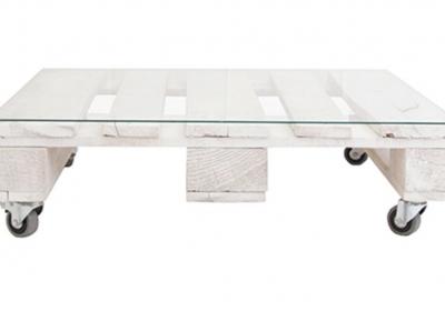 Mesa con palets y vidrio REMAKED
