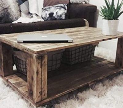 Mesa de centro con palets madera oscurecida DYDAYA
