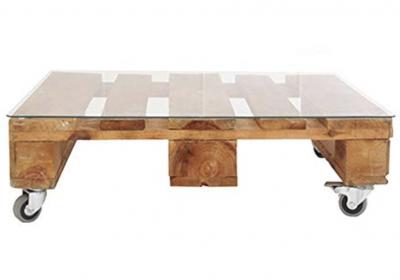Mesa de palets con ruedas madera REMAKED