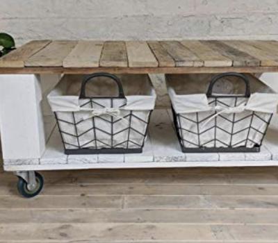 Mesa de palets reciclados de centro auxiliar con ruedas DYDAYA
